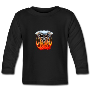 Skull  Flaming  - T-shirt manches longues Bébé