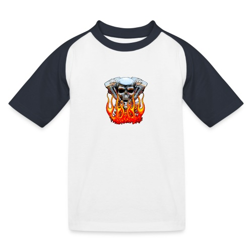 Skull  Flaming  - T-shirt baseball Enfant