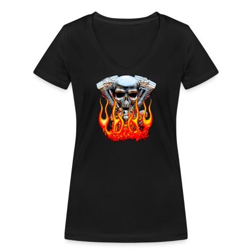 Skull  Flaming  - T-shirt bio col V Stanley & Stella Femme