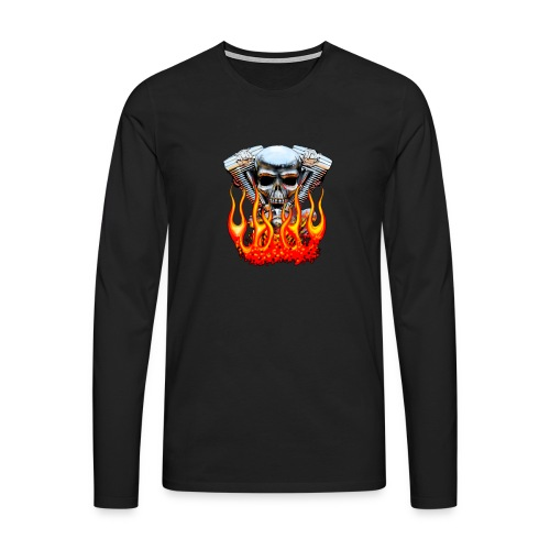 Skull  Flaming  - T-shirt manches longues Premium Homme