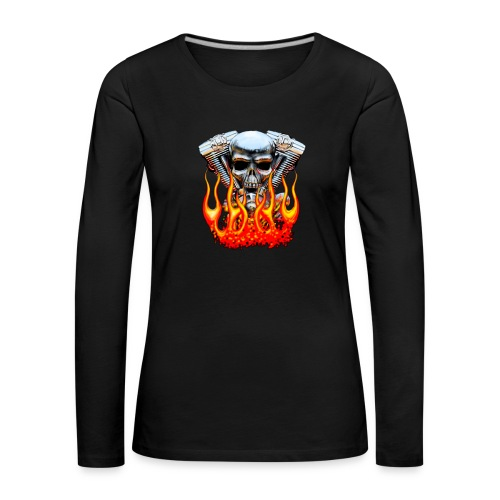 Skull  Flaming  - T-shirt manches longues Premium Femme