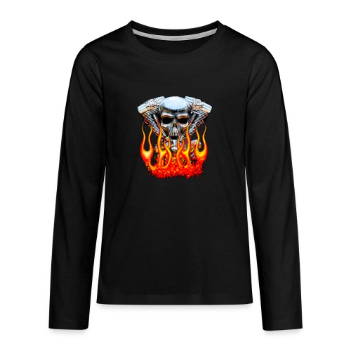 Skull  Flaming  - T-shirt manches longues Premium Ado