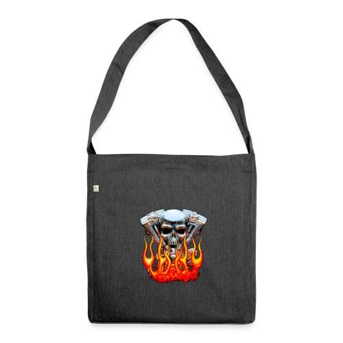 Skull  Flaming  - Sac bandoulière 100 % recyclé