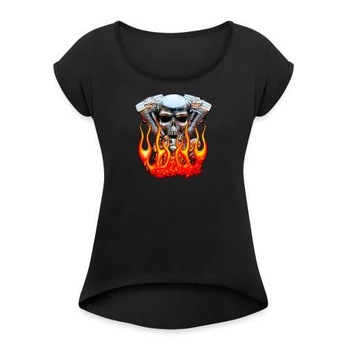 Skull  Flaming  - T-shirt à manches retroussées Femme