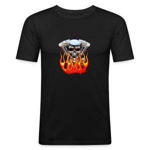 Skull  Flaming  - Tee shirt près du corps Homme