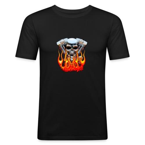 Skull  Flaming  - T-shirt près du corps Homme