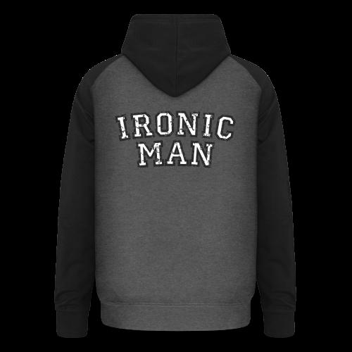 Ironic Man T-Shirt (Grün) Rücken - Unisex Baseball Hoodie