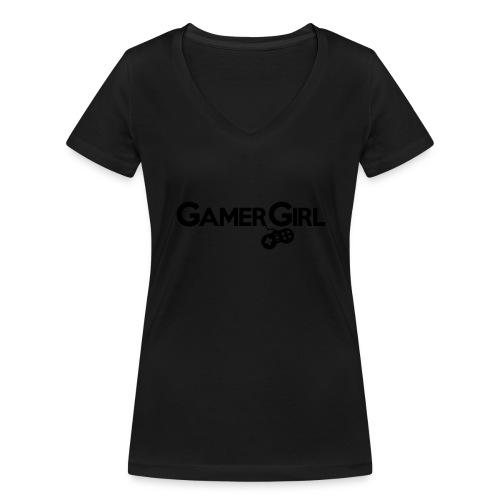 GAMER GIRL Mütze Nerd Beanie Zockerin - Frauen Bio-T-Shirt mit V-Ausschnitt von Stanley & Stella