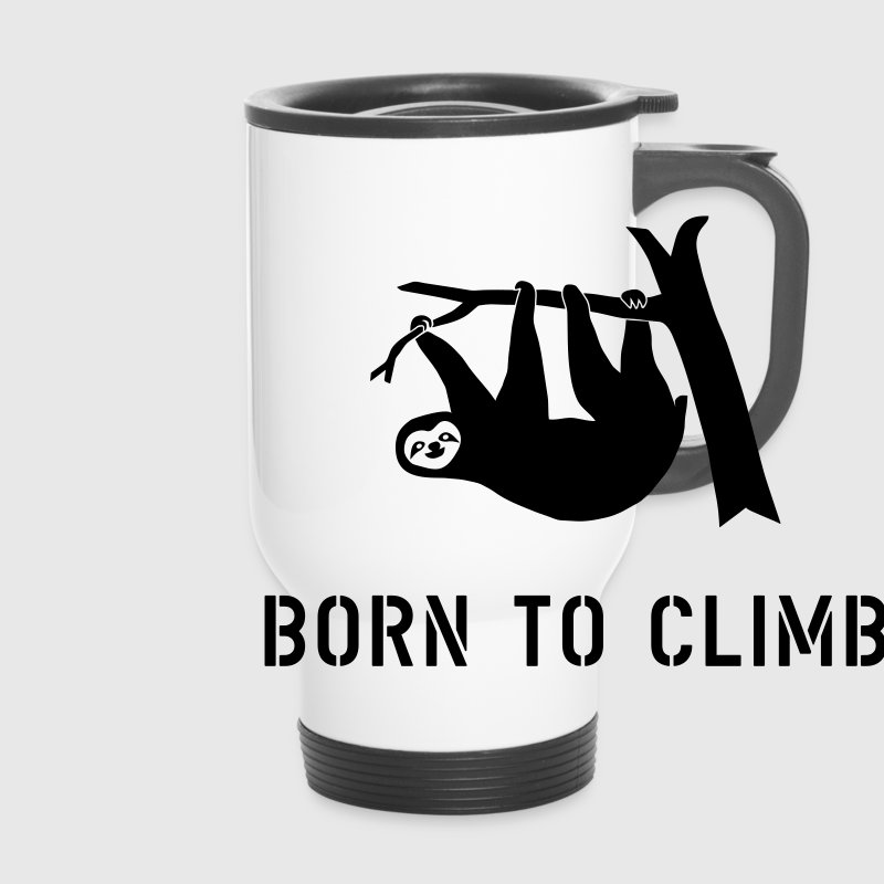 climbing boulder mountain sloth born to climb  Bottles & Mugs - Travel Mug