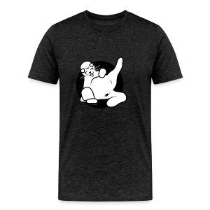 Icon fette Katze sitzend auf Beutel - Männer Premium T-Shirt