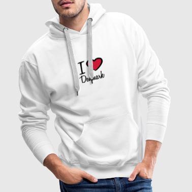 I Love Denmark Danmark Logo Magliette - Felpa con cappuccio premium da uomo