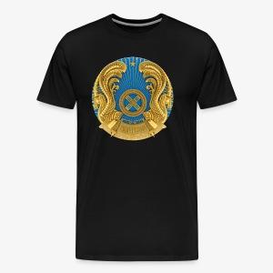 Kasachstan Казахстан Герб Wappen Männer T-Shirt Schwarz - Männer Premium T-Shirt