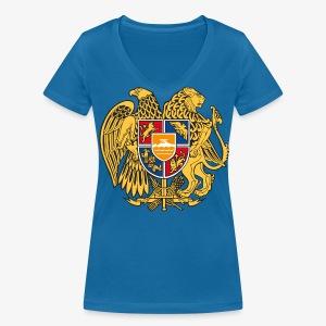 Armenien Wappen Armenia Армения Герб Wappen Frauen T-Shirt - Frauen Bio-T-Shirt mit V-Ausschnitt von Stanley & Stella