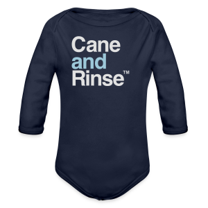 Cane and Rinse logo navy blue T - Longlseeve Baby Bodysuit