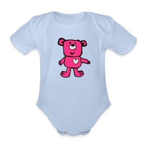 A Friendly bear - pink - Organic Short-sleeved Baby Bodysuit