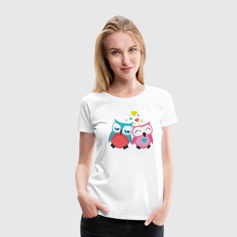 owls in love  hiboux amoureux  Tee shirts - T-shirt Premium Femme