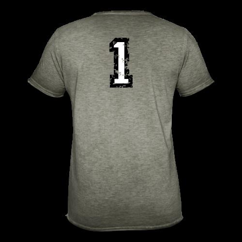 Nummer 1 T-Shirt (Damen Rot) Rücken - Männer Vintage T-Shirt