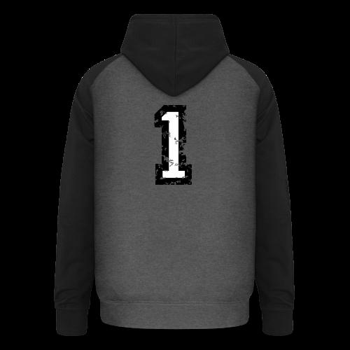 Nummer 1 T-Shirt (Damen Rot) Rücken - Unisex Baseball Hoodie