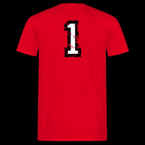 Nummer 1 T-Shirt (Damen Rot) Rücken - Männer T-Shirt