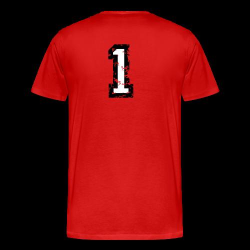 Nummer 1 T-Shirt (Damen Rot) Rücken - Männer Premium T-Shirt