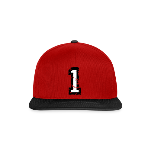 Nummer 1 T-Shirt (Damen Rot) Rücken - Snapback Cap