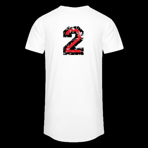 Nummer 2 T-Shirt (Damen Grau) Rücken - Männer Urban Longshirt