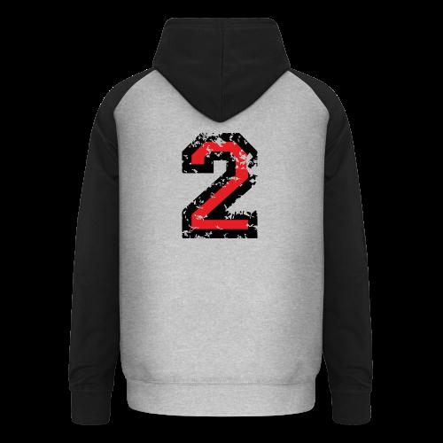 Nummer 2 T-Shirt (Damen Grau) Rücken - Unisex Baseball Hoodie