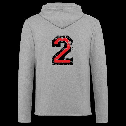 Nummer 2 T-Shirt (Damen Grau) Rücken - Leichtes Kapuzensweatshirt Unisex