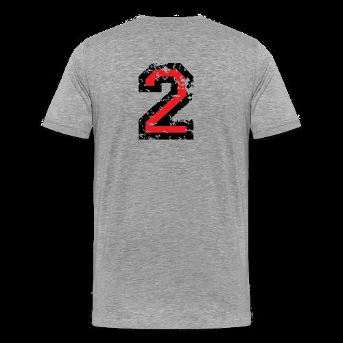 Nummer 2 T-Shirt (Damen Grau) Rücken - Männer Premium T-Shirt