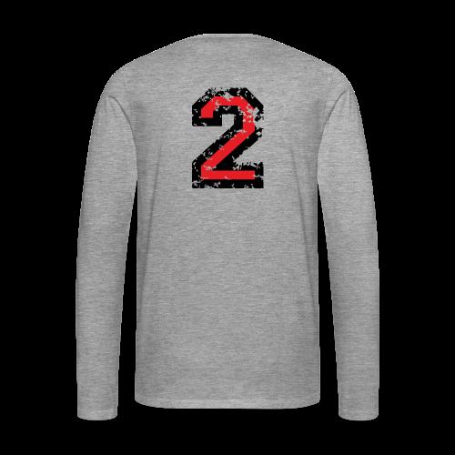 Nummer 2 T-Shirt (Damen Grau) Rücken - Männer Premium Langarmshirt