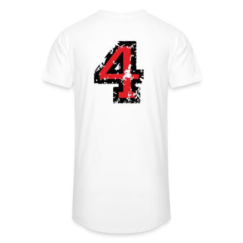 Nummer 4 T-Shirt (Herren Grau) Rücken - Männer Urban Longshirt