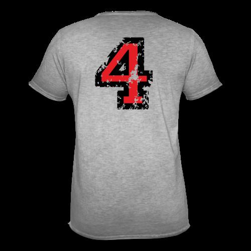 Nummer 4 T-Shirt (Herren Grau) Rücken - Männer Vintage T-Shirt