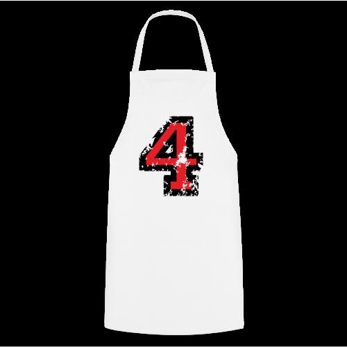 Nummer 4 T-Shirt (Herren Grau) Rücken - Kochschürze