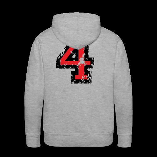 Nummer 4 T-Shirt (Herren Grau) Rücken - Männer Premium Hoodie