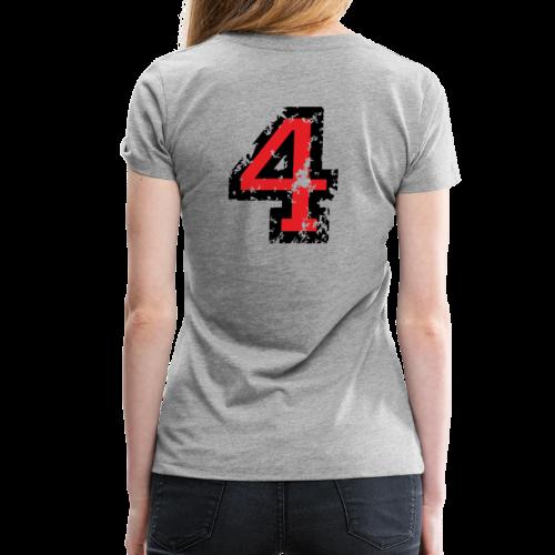 Die Zahl Vier - Nummer 4 (zweifarbig) rot