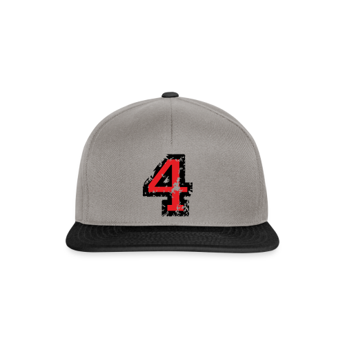 Nummer 4 T-Shirt (Herren Grau) Rücken - Snapback Cap