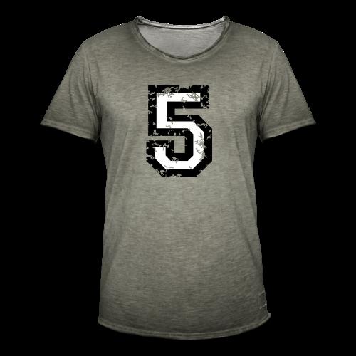 Nummer 5 T-Shirt (Herren Rot) - Männer Vintage T-Shirt