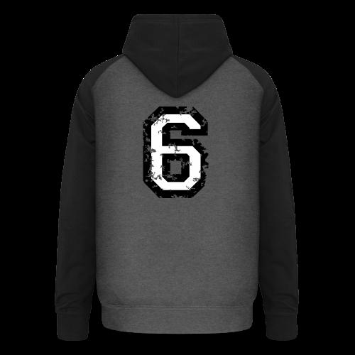 Nummer 6 T-Shirt (Damen Rot) Rücken - Unisex Baseball Hoodie