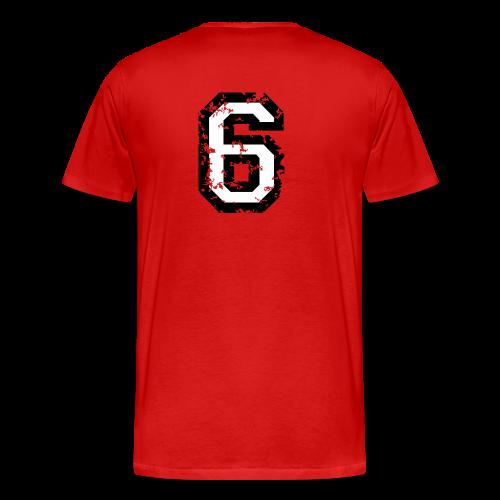 Nummer 6 T-Shirt (Damen Rot) Rücken - Männer Premium T-Shirt