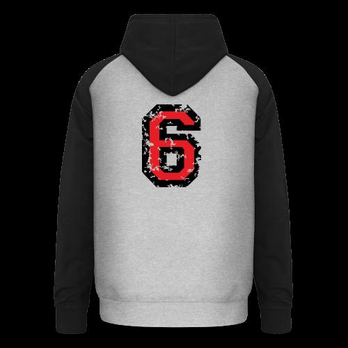 Nummer 6 T-Shirt (Damen Grau) Rücken - Unisex Baseball Hoodie
