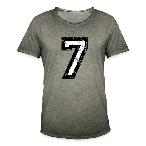 Nummer 7 T-Shirt (Herren Rot) - Männer Vintage T-Shirt