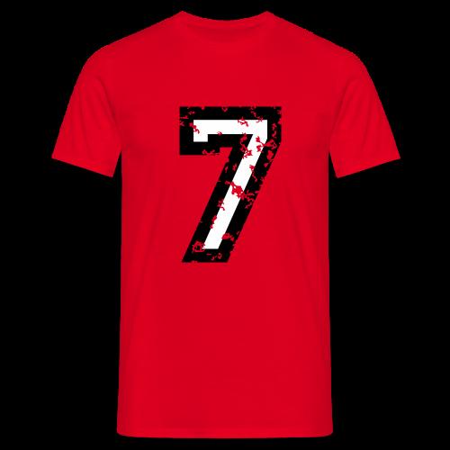 Nummer 7 T-Shirt (Herren Rot) - Männer T-Shirt