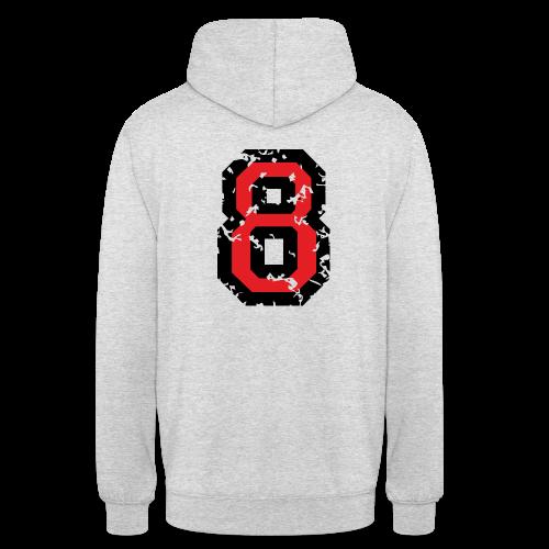 Rückennummer 8 T-Shirt (Herren Grau) - Unisex Hoodie