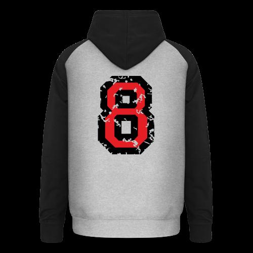 Rückennummer 8 T-Shirt (Herren Grau) - Unisex Baseball Hoodie