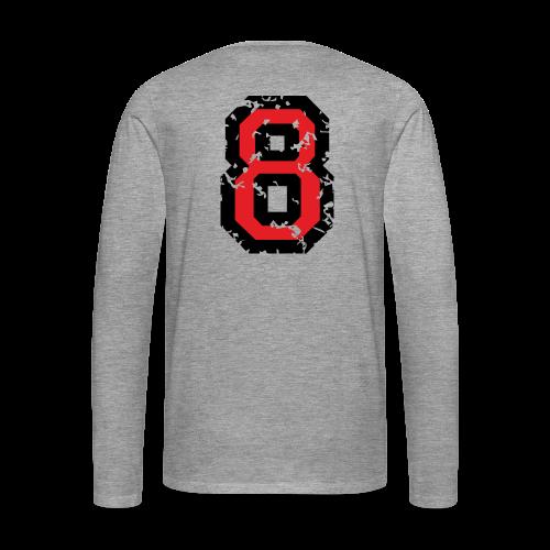 Rückennummer 8 T-Shirt (Herren Grau) - Männer Premium Langarmshirt