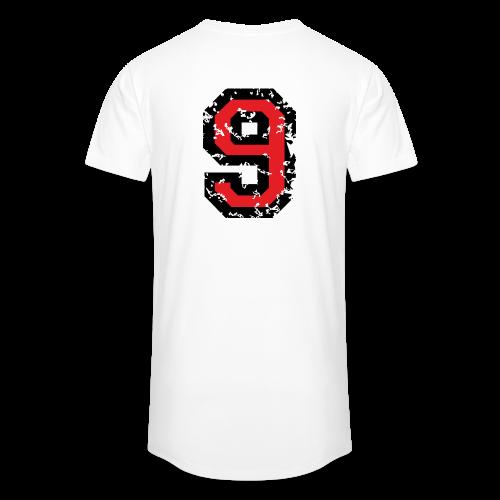 Rückennummer 9 T-Shirt (Herren Grau) - Männer Urban Longshirt