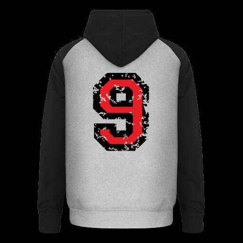 Rückennummer 9 T-Shirt (Herren Grau) - Unisex Baseball Hoodie