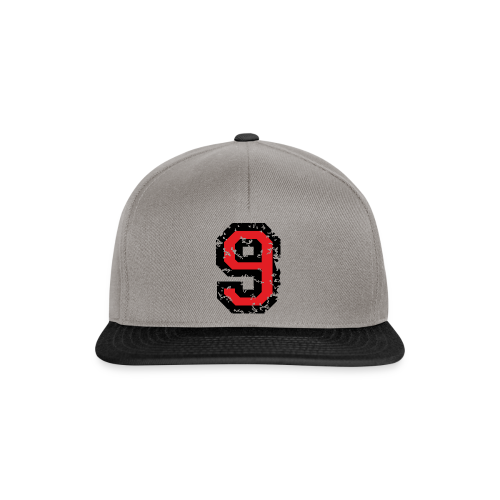 Rückennummer 9 T-Shirt (Herren Grau) - Snapback Cap
