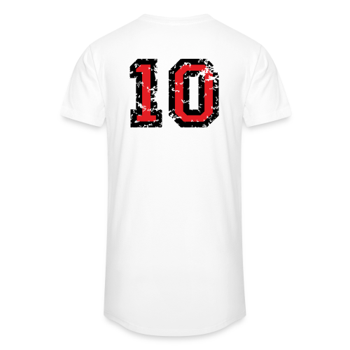 Rückennummer 10 T-Shirt (Herren Grau) - Männer Urban Longshirt