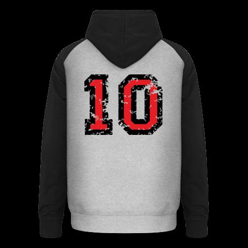 Rückennummer 10 T-Shirt (Herren Grau) - Unisex Baseball Hoodie